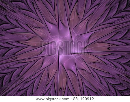 Abstract Fluffy Fractal Flower Computer Generated Image, Background For Text Labels