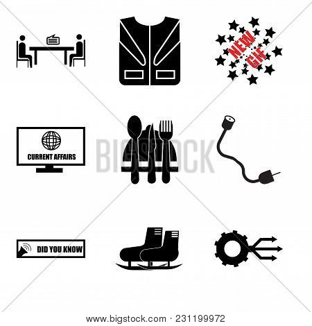 Set Of 9 Simple Editable Icons Such As Multi Channel, Snowshoe, Did You Know, Coax, Horeca, Current