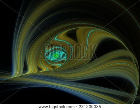 Abstract Peacock Feather Fractal Computer Generated Image