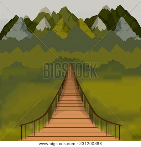 Background Outside Suspension Bridge And Forest Scenary Behind Window Vector Illustration