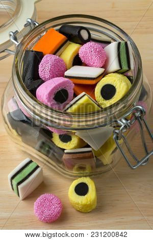 Glass jar with colorful Liquorice allsorts