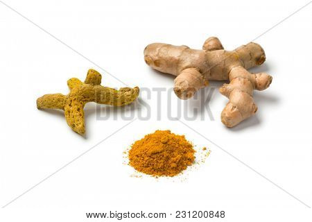 Fresh, dried and powder turmeric isolated on white background