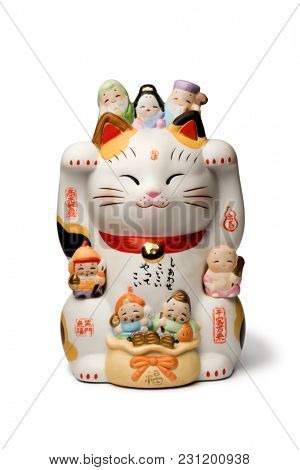 Japanese maneki neko, lucky cat isolated on white background