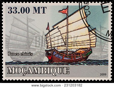 Moscow, Russia - March 14, 2018: A Stamp Printed In Mozambique Shows Old Sailing Ship, Chinese Junk,