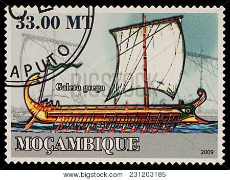 Moscow, Russia - March 14, 2018: A Stamp Printed In Mozambique Shows Antique Greek Galley, Series