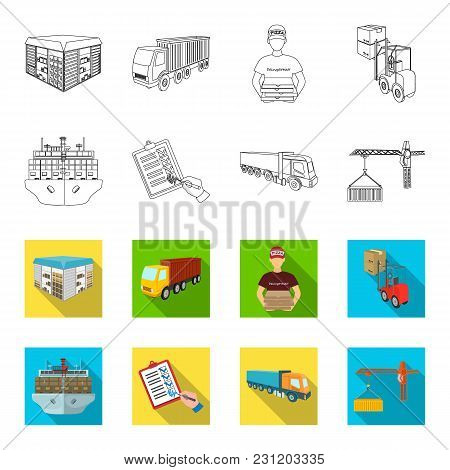 Sea Freight, Signature Of Delivery Documents, Truck, Tower Crane With A Container. Logistics And Del
