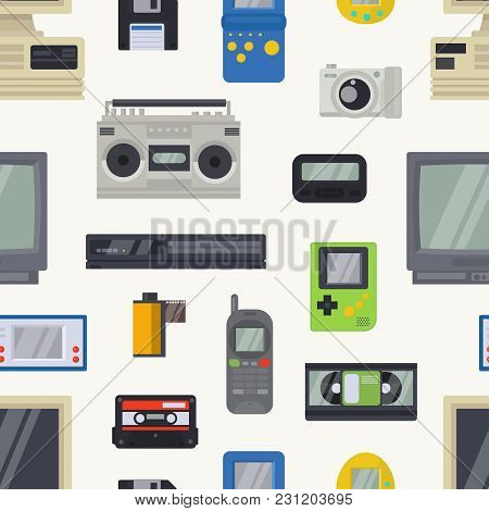 Retro Technology Vector Vintage Computer Tech And Old Pc Monitor With Floppy Illustration Technologi