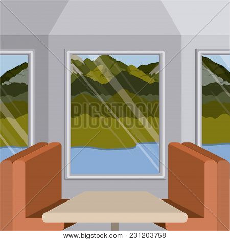 Background Interior Train With A Passenger Compartment And Landscape Scenary Outside With Lake Vecto