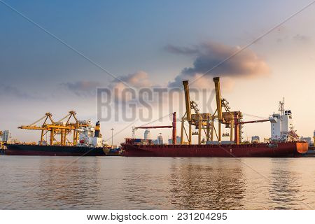 Containers Loading Terminal And Cargo Shipping Yard.