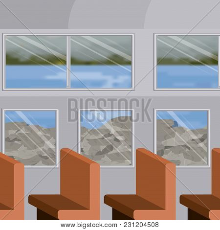 Background Interior Train With A Passenger Compartment Row Chairs And Lake Blur Scenary Outside Vect