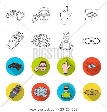 Technology, Innovation, Man, Complemented .virtual Reality Set Collection Icons In Outline, Flet Sty