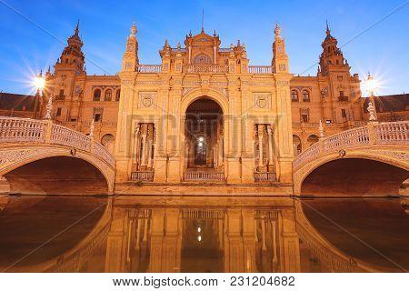 Spain Square (plaza De España) At Night. Sevilla - Spain.
