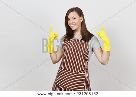 Young Smiling Brunette Housewife In Striped Apron, Yellow Gloves Isolated On White Background. Beaut