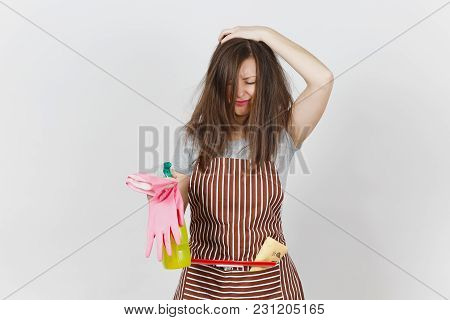 Young Fun Crazy Dizzy Loony Wild Housewife Tousled Hair Striped Apron Squeegee Cleaning Rag In Pocke