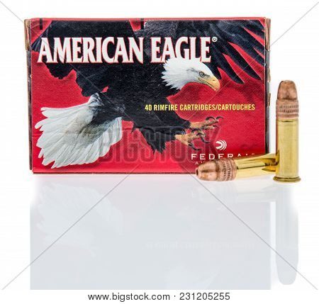 Winneconne, Wi -5 March 2018: A Box Of American Eagle 22 Long Rifle Ammunition On An Isolated Backgr