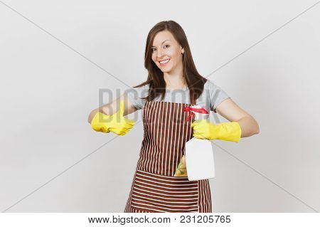 Young Housewife In Yellow Gloves, Striped Apron, Cleaning Rag In Pocket Isolated On White Background
