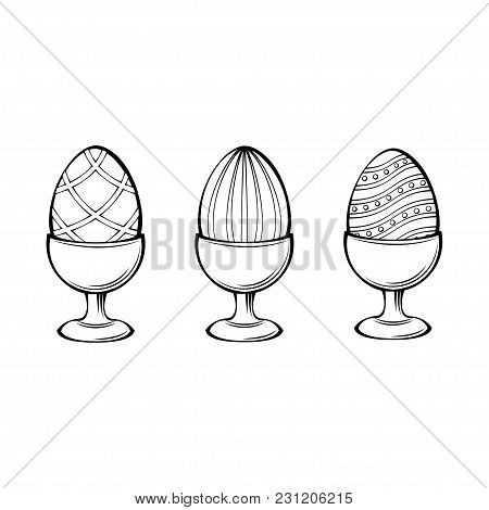 Eggs In Egg-cup, Egg Holder. Three Easter Eggs. Design Elements. Vector Illustration Isolated On Whi