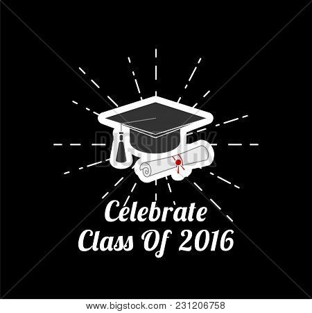 Square Academic Graduation Cap In Beams. Student S Hat With Text. Vector Illustration.