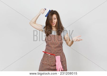 Young Fun Crazy Dizzy Loony Wild Housewife In Striped Apron With Squeegee, Pink Gloves In Pocket Iso