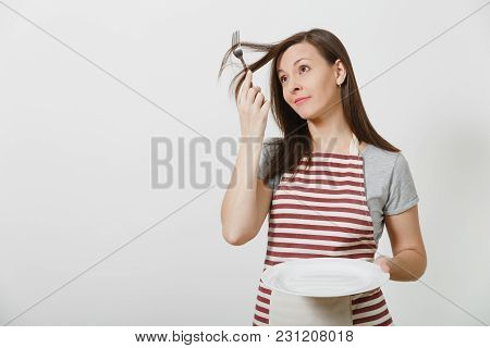 Young Fun Crazy Brunette Housewife In Striped Apron Gray T-shirt Isolated On White Background Housek