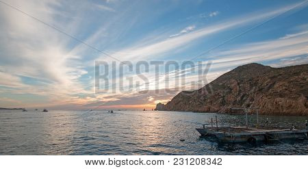 Fishermans Dawn Sunrise View Of Bait Supply Boat At Lands End In Cabo San Lucas In Baja California M
