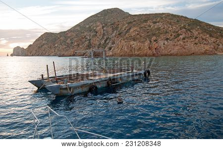Fishermans Sunrise View Of Bait Supply Boat At Lands End In Cabo San Lucas In Baja California Mexico
