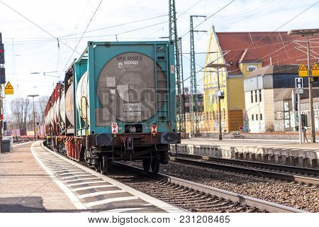 Fuerth / Germany - March 11, 2018: A European Freight Train Passes Train Station Fuerth In Germany