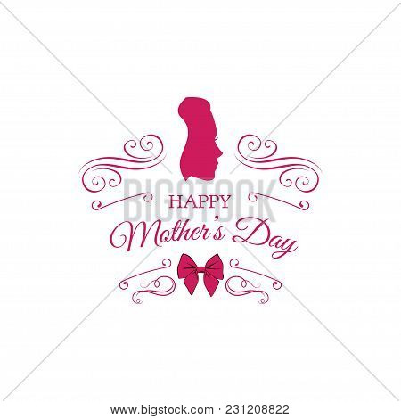 Mother S Day Card. Cute Vintage Frames With Ladies Silhouette. Swirls, Ornate Frames And Bow. Vector