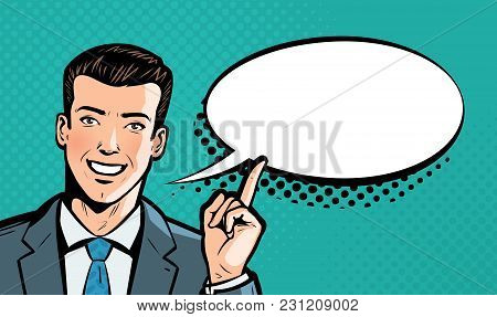 Businessman Says. Business Concept. Pop Art Retro Comic Style. Cartoon Vector