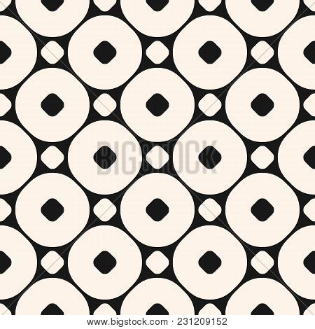 Vector Geometric Seamless Pattern With Big Circles. Simple Modern Abstract Background. Funky Monochr