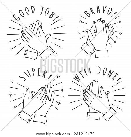 Doodle Hands Claps. Hand Drawn Applauding Clapping Hands Isolated On White Background, Winner Applau