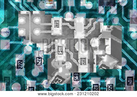 Circuit board layered chaotic abstract background