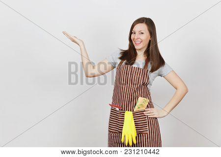 Smiling Housewife In Striped Apron With Cleaning Rag, Squeegee, Yellow Gloves In Pocket Isolated On