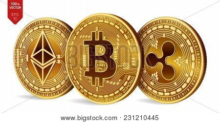 Bitcoin. Ripple. Ethereum. 3d Isometric Physical Coins. Digital Currency. Cryptocurrency. Golden Coi