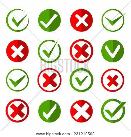 Crosses And Ticks Signs. Green Tick And Red Cross, Ok And Crossing Checkmark Vector Icons In Flat St