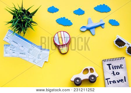 Travelling With Child Concept. Air Balloon, Car And Plane. Time To Travel Hand Lettering In Notebook
