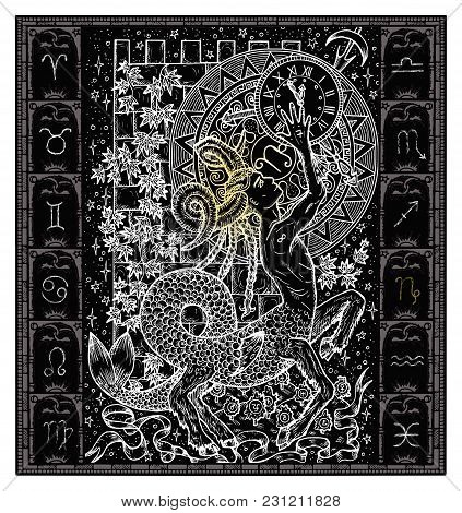 White Silhouette Of Fantasy Zodiac Sign Capricorn In Gothic Frame On Black. Hand Drawn Engraved Illu