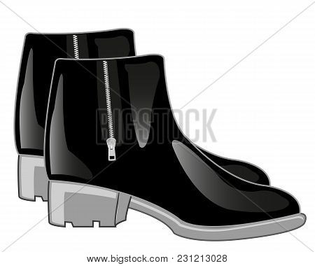 Footwear Black Boots With Clasp Lightning.vector Illustration