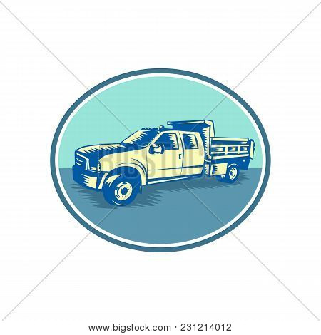Retro Woodcut Style Illustration Of A Tipper Pick-up Or Pickup Truck, Equipped With Open-box Bed Hin