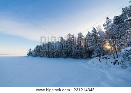 Frozen Lake And Snow Covered Forest At Cold Sunny Winter Day In Finland