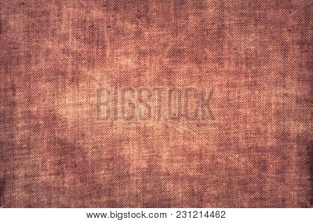 Scratched Coarse Old Burlap Rusty Pink Red Natural Canvas Sacking Fabric Texture