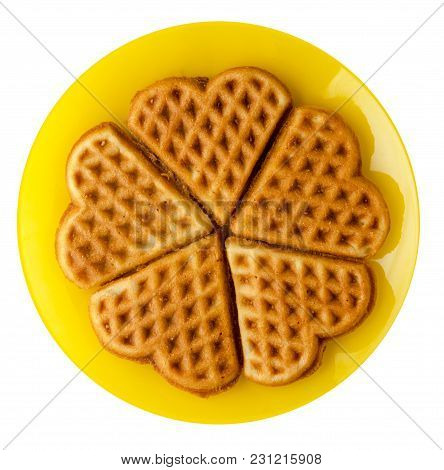 Belgian Waffles  Isolated On White Background. Waffles On A Plate Top View