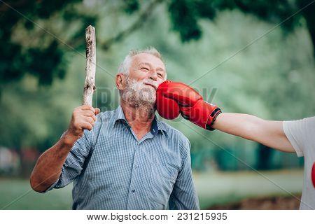 Senior Woman Smiling Active Boxing Punching Old Men,senior Couple Concept