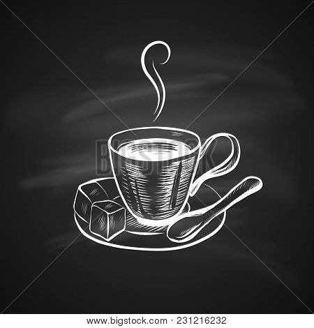 Hand Drawn Icon With Coffee Cup On Chalkboard. Sketch Coffee Illustration In Monochrome Style. Great