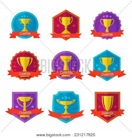 Gold Champion Cup Badge Set Isolated On White Background Vector Illustration. Winner Award Label, Go