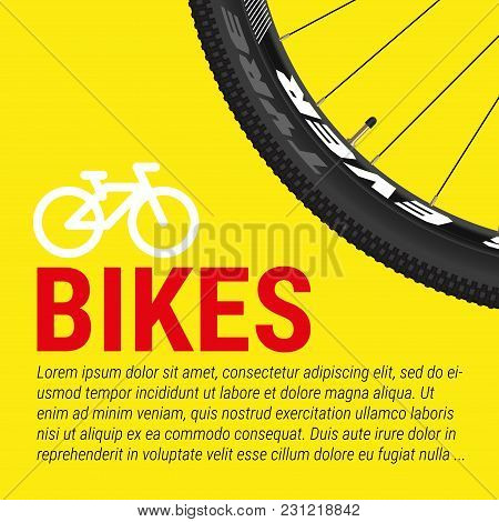 Bike, Bicycle Poster, Banner Vector Template. Closeup Of A Bicycle Wheel, Bike Icon And Sample Text