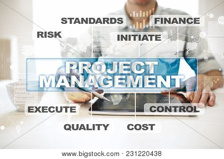 Project Management On The Virtual Screen. Business Concept