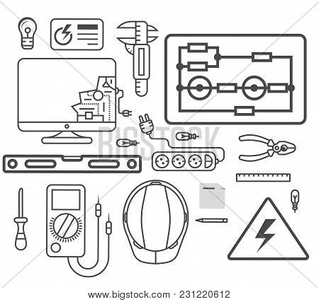 Electricity Engineering Icon Set Vector Illustration. Electrician Professional Instrument, Repair An