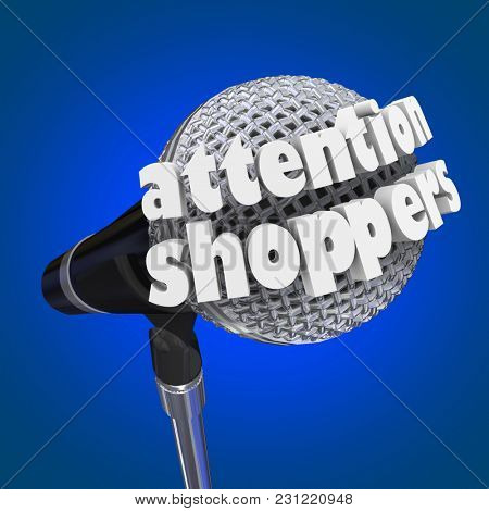 Attention Shoppers Store Sale Announcement 3d Illustration