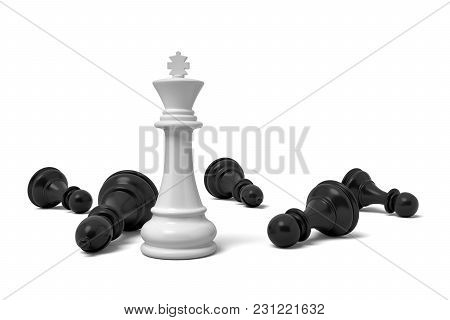 3d Rendering Of A Single Standing White Chess King Piece Among Many Fallen Black Pawns. Chess Figure